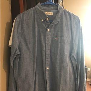 Long sleeve blue Hollister button down